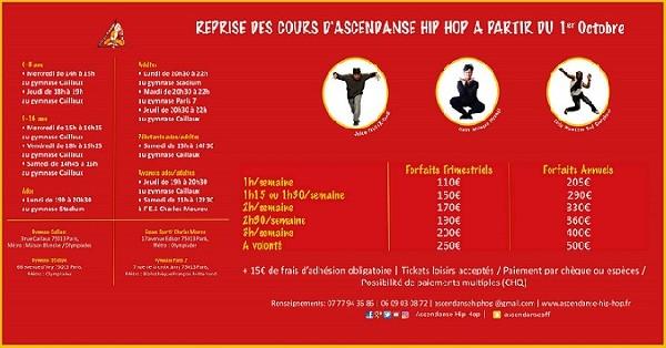Rentr&eacute;e cours AscEnDanse Hip Hop :<br /> Lundi 1er Octobre 2018<br /> <br /> Portes Ouvertes :<br /> Du lundi 1er au Samedi 6 Octobre<br /> Juste pour vous, cette semaine l&agrave;, les cours d&#039;essais seront gratuits.